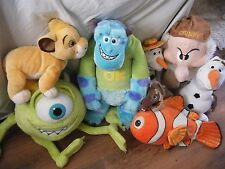 BUNDLE OF 8 LARGE AND SMALL DISNEY SOFT TOYS INC SIMBA GRUMPEY SULLEY AND MORE