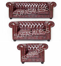 chesterfield 3+2 seater sofa settee in bonded leather + armchair in brown or red