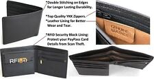 RFID Security Lined Leather Wallet Quality Full Grain Cow Hide Leather. 12022.