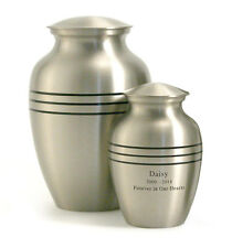 Classic Pewter Brass Pet Cremation Urn - Engravable - Medium or Extra Small