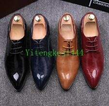 Mens Patent Leather Pointed Toe Lace Up Retro Formal Dress Wedding Shoes New SZ
