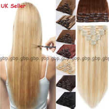 BIG SALE Clip in Remy Human Hair Extensions Full Head Highlight Blonde 8PCS A743