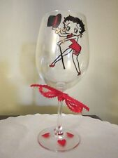 Hand Painted Glass BETTY BOOP with Top Hat  Wine Glass  12 oz.