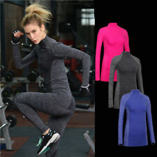 Winter womens sport Compression Yoga tops thermal underwear long sleeve T-shirts
