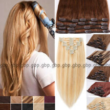 """Clip in Human Hair Extension FULL HEAD 100% Real Remy Hair 18""""20""""22"""" Blonde A753"""