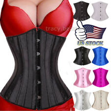 BLACK WOMEN BONED WAIST TRAINING OVERBUST LACE UP CORSETS BUSTIER TOP SIZE S-6XL