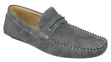 Men's Flat Casual Perforated Shoes Slip On Loafers Moccasin ARIDER Gray CHRIS-02
