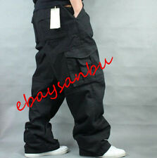 Military Mens Long Pants Loose Fit Cargo Baggy Carpenter Overall Cotton Trousers
