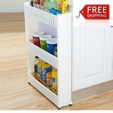 Freestanding Shelving Unit Plastic White Wire Rolling Kitchen Pull Out Pantry
