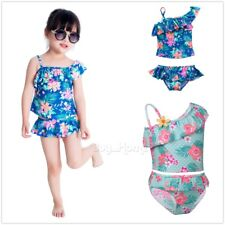 2Pcs Flower Girls Kid Swimwear Bikini Swimsuit Swimming Costume Bathing Suit Set