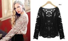 Women Sexy Semi Sheer Long Sleeves Embroidery Floral Lace Crochet Top Blouse