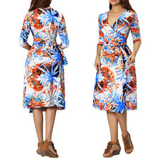 Ladies Womens Summer Party Evening Holiday Dresses Plus Size 8-24 Tropical Print