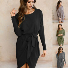 Women Long Sleeve Casual Evening Party Cocktail  Mini Dress Maxi Bandage Bodycon