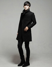 Korean Men's Fashion Woollen Blend Slim Fit Trench Jacket Outwear Coat Parka Sz
