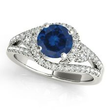 1.65 Ct. Halo Sapphire And Diamond Engagement  Ring In 14k Solid Gold