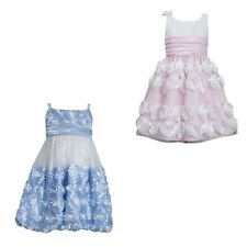 New Girls Bonnie Jean Taffeta Rosette Floral Dress Size 4 5 6 Pink Blue