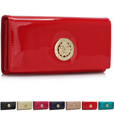 Ladies Large Patent Faux Leather Designer Wallet Trifold Women Coin Card Purses