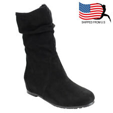 Chic Contemporary Women's Slouchy Pull On Draw String Mid-Calf Boots Black