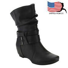Chic Contemporary Women Straps Deco Mid-Calf Slouch Boot One Size Small Black
