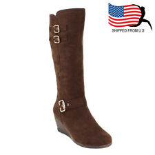 Chic Women Buckled Strap Inside Zipper Wedge Heel Mid Calf Cotton Boots Brown