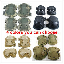 Airsoft Tactical Adjustable Combat Knee Elbow Protector Pads Set Biking Skate