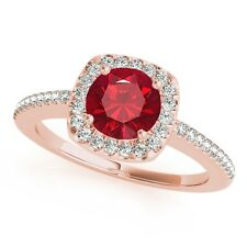 1.10 Ct. Halo Created Ruby And Diamond Engagement Wedding Ring In 14k Solid Gold