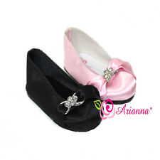 "Arianna Rhinestone Black & Pink Ballet Dress Shoes for 18"" American Girl Doll"