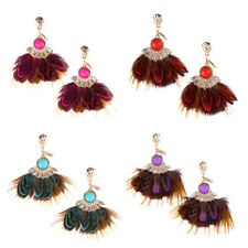 Exquisite Bohemia Feather Tassel Earrings Ladies Exaggeration Jewelry 1Pair