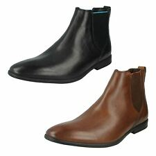 MENS CLARKS LEATHER POINTED SLIP ON FORMAL WORK CHELSEA BOOTS SHOES BAMPTON TOP