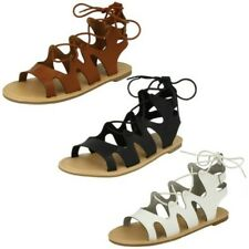Ladies Spot On Lace Up Leg Flat Gladiator Sandals