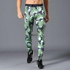 Men Active Sports Pants Tights Baselayer Camouflage Quick Dry Running LM