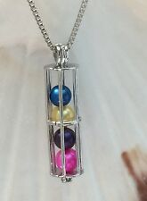 CYLINDER FAIRY TUBE STERLING SILVER CAGE PENDANT & NECKLACE AKOYA PEARL OYSTER