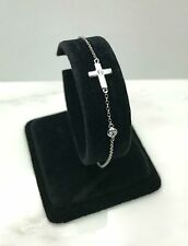 Sterling Silver Sideways Cross Religious Chain Bracelet with AAA quality CZ