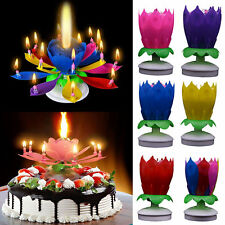 Amazing Magical Blossom Lotus Light Birthday Musical Rotating Flower Lamp Candle