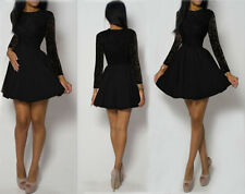 O-Neck Lace Long Sleeve Mini Dress Evening Cocktail Party Club Dress Sexy Womens