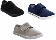 MENS CANVAS PUMPS WALKING TRAINERS VELCROO LIGHTWEIGHT GENTS CASUAL SHOES UK7-12