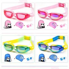 Kids Goggles Swimming Goggles Cap Boys Girls Swimming Pool Set Bag Earplugs