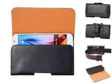 1X Universal Black PU Leather Horizontal Belt Clip Holster Pouch Case For Phones
