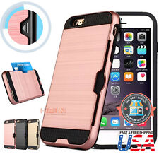 Hybrid Rubber Shockproof Card Holder Hard Phone Case Cover for iPhone 7 & 7 Plus