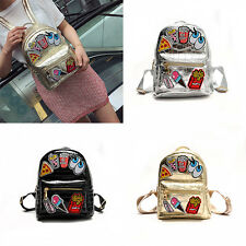 Small Backpack Crocodile Effect Backpack with Patches Silver Gold Backpack 2017