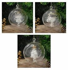 Personalised Engraved Glass Christmas Tree Bauble Angel Reindeer Tree Decoration