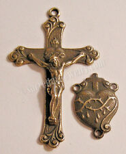 VINTAGE ROSARY PARTS SUPPLY Sacred Heart Center Crucifix Sterling Bronze 316-613
