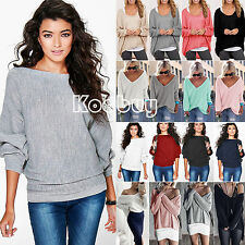 Women Casual Long sleeve Knitted Sweater Loose Jumper Pullover Tops Blouse Shirt