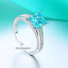 Fine 925 Sterling Silver Blue Engagement Ring Princess Cut Simulated Diamond