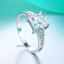 Fine 925 Sterling Silver Princess Cut Wedding Engagement Ring Simulated Diamond