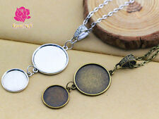 25mm Trays + glass + Rolo Chain Necklace Pendant Tray Blank Cameo Cabochon Base