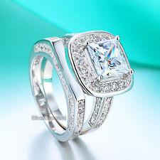 925 Sterling Silver Vintage Style Wedding Engagement Ring Set Simulated Diamond