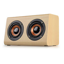 Wireless Bluetooth Speaker Mini W7 Wooden Portable Stereo Super Bass Speakers