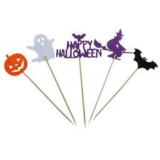 10/set Halloween Cupcake Toppers Food Picks Pumpkin Bat Ghost Party Decoration