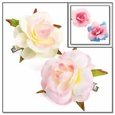 2x ROSE FLOWER HAIR CLIPS GIRLS/WOMENS CLIPS ROSES HAIR CLIP SMALL FLOWER CLIPS